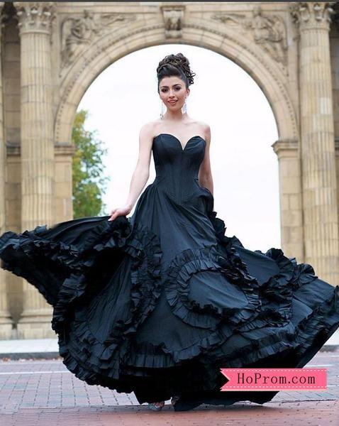 a7d124e9fda64 Black Swirling Ruffled Ball Gown Prom Dress | Hoprom Prom Dresses in ...