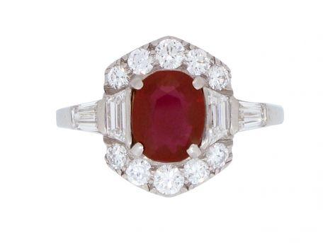 Art Deco Burmese ruby and diamond ring, circa 1935 from Berganza London Hatton Garden