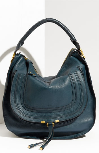 Chloé 'Marcie - Large' Leather Satchel, $1595. It's teal perfection right down to the wrapped handle!