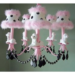 perfect chandelier for Zoey's nursery... just not sure about the poodles.