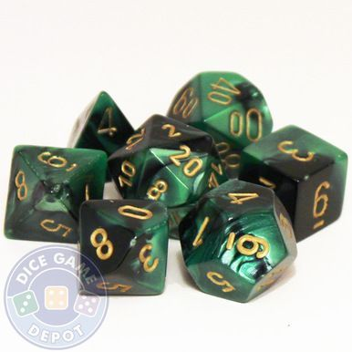 This set of Gemini dice is a mix of black and green colors and contains the following: 1 four-sided dice (d4) 1 six-sided dice (d6) 1 eight-sided dice (d8) 1 ten-sided dice (d10) 1 percentile dice (d%