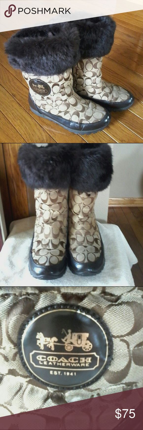 Coach boots They have been worn.   Notice wear in pictures. Coach Shoes Winter & Rain Boots
