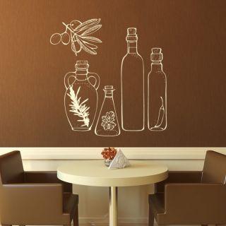 Наклейка для дома от 2stick.ru Пряности и оливковые масла в бутылках
