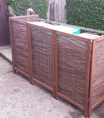 Wooden Framed Folding Willow Wheelie Bin Dustbin Cover Screen (TRIPLE)
