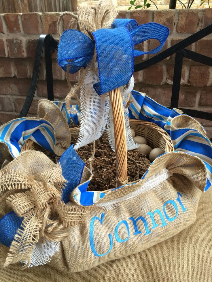 121 best easter baskets 2016 images on pinterest easter baskets awesome natural burlap with nautical blue makes this a great easter basket for any young man negle Gallery