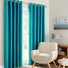 Montana Teal Lined Eyelet Curtains
