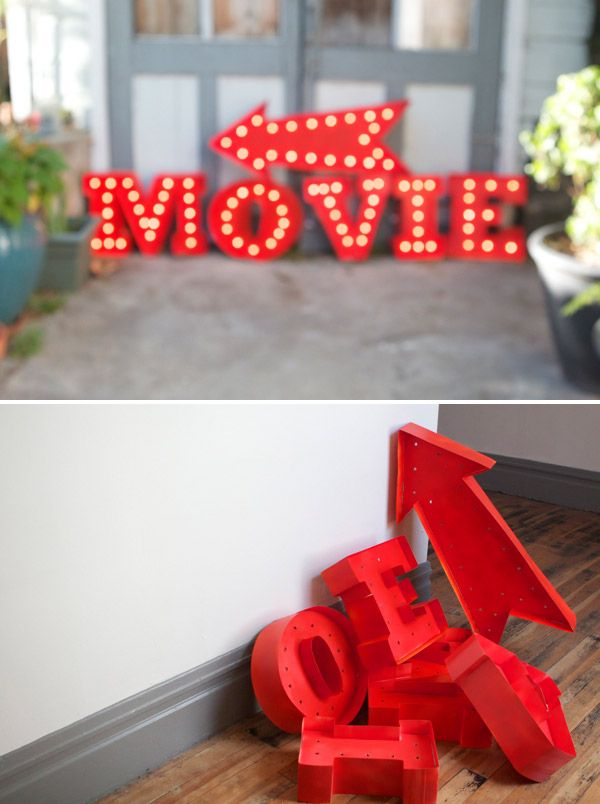 DIY: vintage marquee: Photos Booths, Movie Parties, Posters Boards, Marquee Letters, Diy Lights, String Lights, Marquee Signs, Movie Night, Vintage Movie