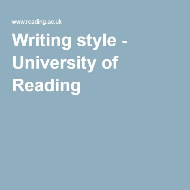 Writing style - University of Reading