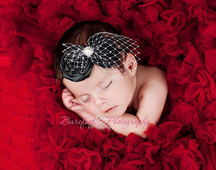 baby headband, baptism headband, newborn photography prop, infant headband, flower girl hair accessories. $22.50, via Etsy.