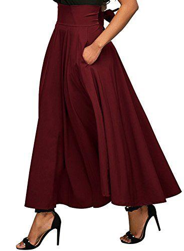 c9bcf672502 Calvin  amp  Sally Women s Casual Flowy Dress High Waist Pleated Midi Skirt  with Pockets (