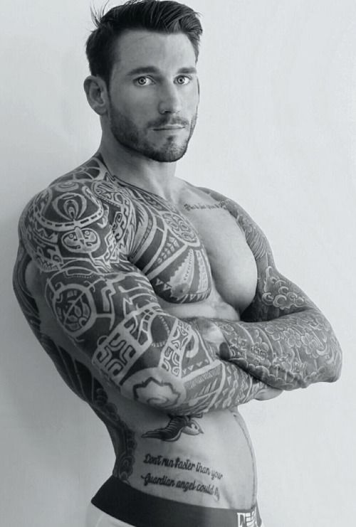 tribal ,inked muscle man. so handsome the face the hair the beard. he is got it my fantasy man