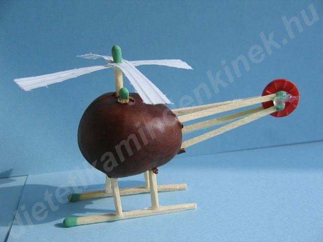 Kastanien, Hubschrauber aus Kastanien, – Basteln