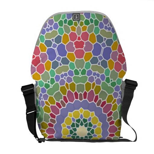 Colorful circle mosaic pattern courier bags