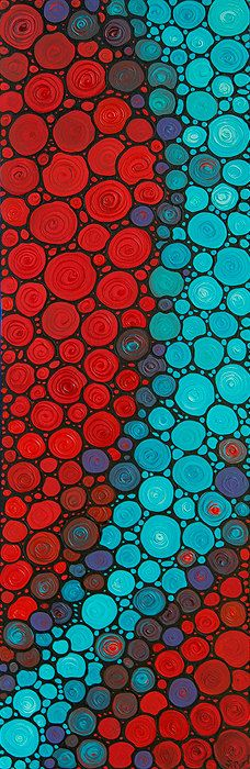 Red Aqua Abstract Painting Mosaic Art - Currents - Labor of Love Mosaics By Sharon Cummings Big Canvas Healing Artwork Large Size