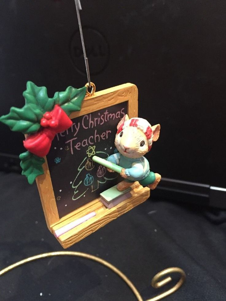 ENESCO CHRISTMAS ORNAMENT: MOUSE AT CHALKBOARD TO A GRADE A TEACHER new in box