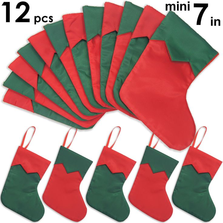 Ivenf 12 Pack 7 Twill Mini Christmas Stockings Gift Card