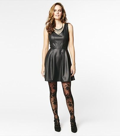 Party rock in this bad-girl faux leather flare dress! #DYNHOLIDAY
