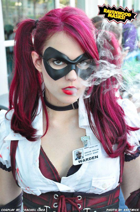 Harley Quinn cosplay: Halloween Costumes Ideas, Arkham Asylum, Red Hair, Black Leather, Cosplay Costumes, Dr. Quinn, Leather Masks, Character Costumes, Harley Quinn