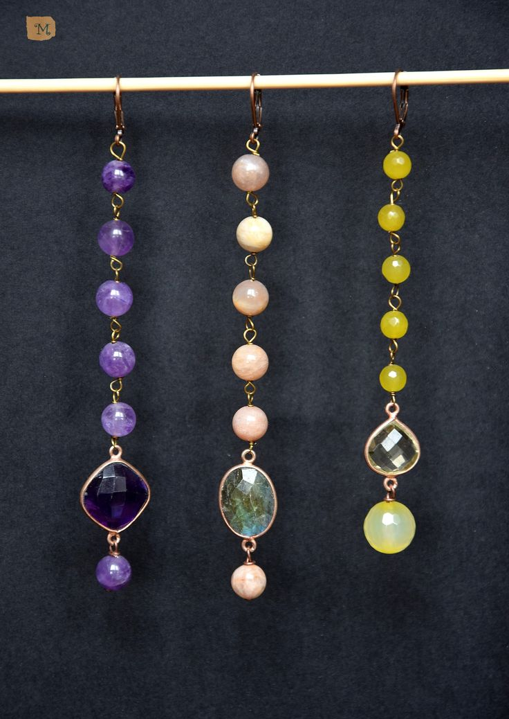 Long earrings, violet green yellow My Handmade Jewelry https://it.pinterest.com/mteresacostanzo/my-handmade-jewelry/