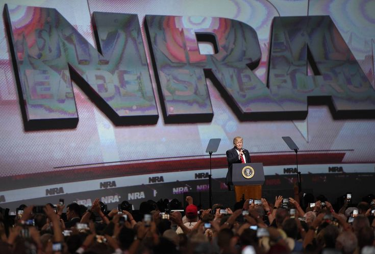 President Donald Trump speaks during the National Rifle Association-ILA Leadership Forum, April 28, 2017, in Atlanta. The NRA is holding its 146th annual meetings and exhibits forum at the Georgia World Congress Center.
