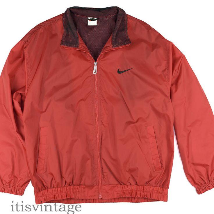 Nike Windbreaker Vintage Red Track Basketball Jacket Warm-Up Full Zip Large L #Nike #Coats #Jackets #itisvintage