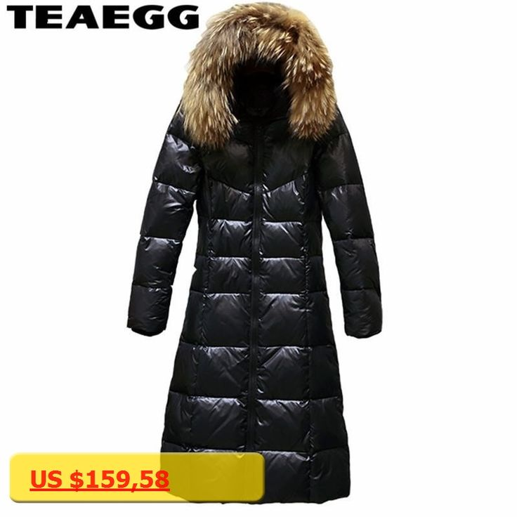 TEAEGG Gray Duck Down Coats Women Winter Parkas Raccoon Fur Collar Casual Womens Down Jackets Coats Abrigo Plumas Mujer AL137