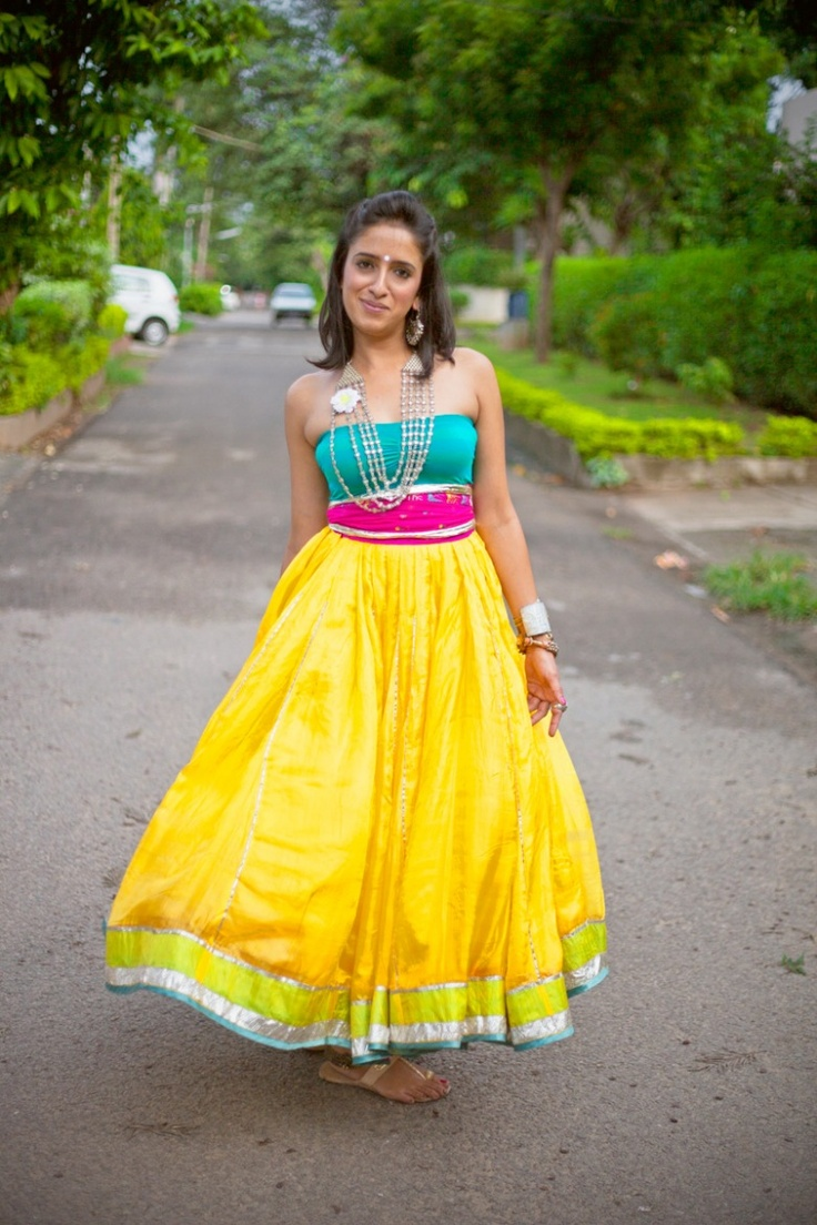 I want a lehenga like this for the Sangeet! Not the top part though, just the lehenga. Not yellow, but some other bright color with this kind of cloth and design.