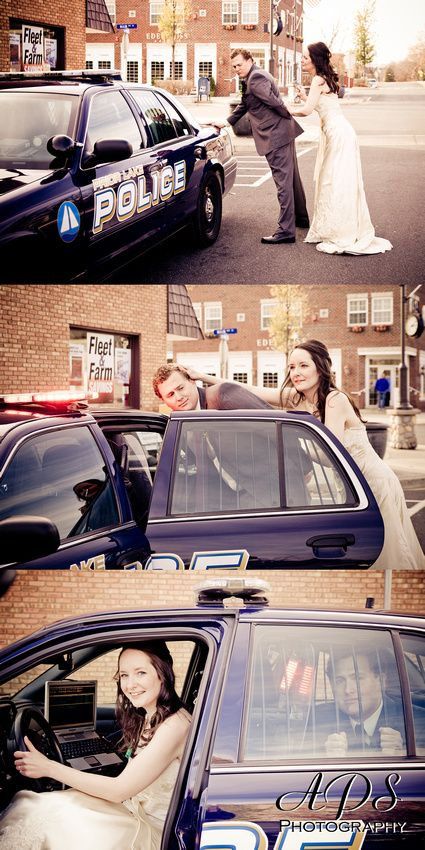 Every wedding has an opportunity for unique photo ops. Don't be shy and live it up! And if a cop comes by asking if you want to take pictures with his car Always Say Yes!
