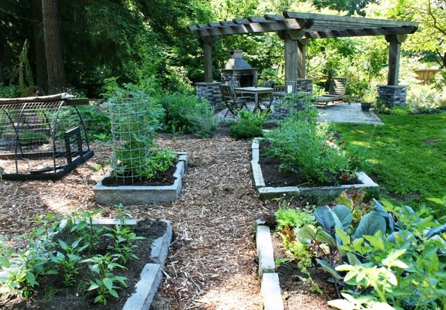 Stone raised beds in Jessi Bloom's garden
