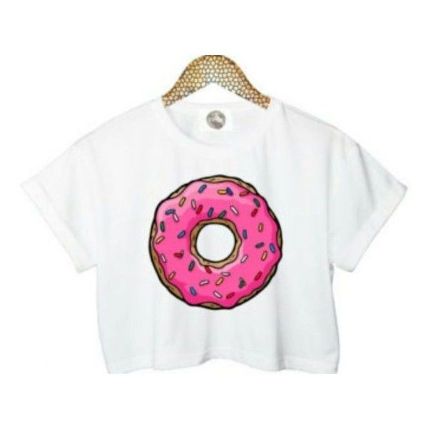 white shirt with donut ❤ liked on Polyvore featuring tops, white shirts, shirt tops and white tops