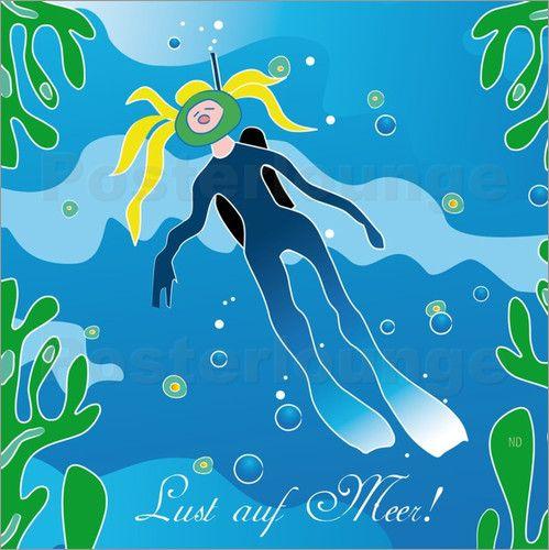 Poster Taucherin - Lust auf Meer