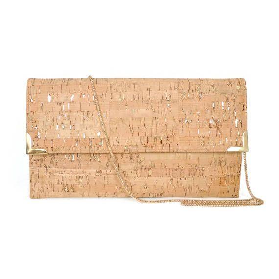 Oro embrague monedero bolso de tarde de corcho metálico