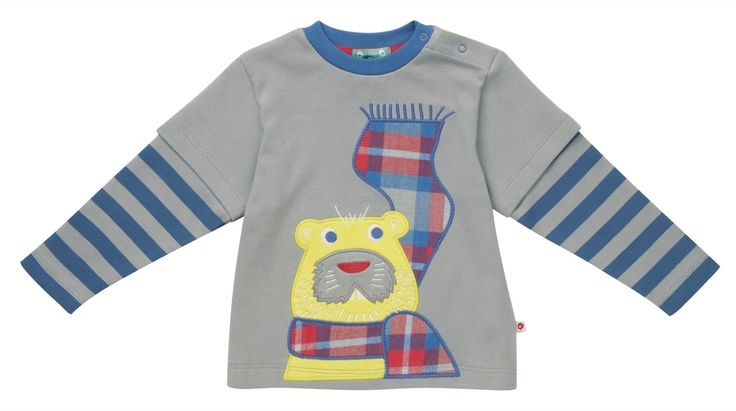 Boys Organic Jersey Top - Long Sleeve Beaver Applique - available in sizes 6-12 months up to 7-8 years - RRP £20.00
