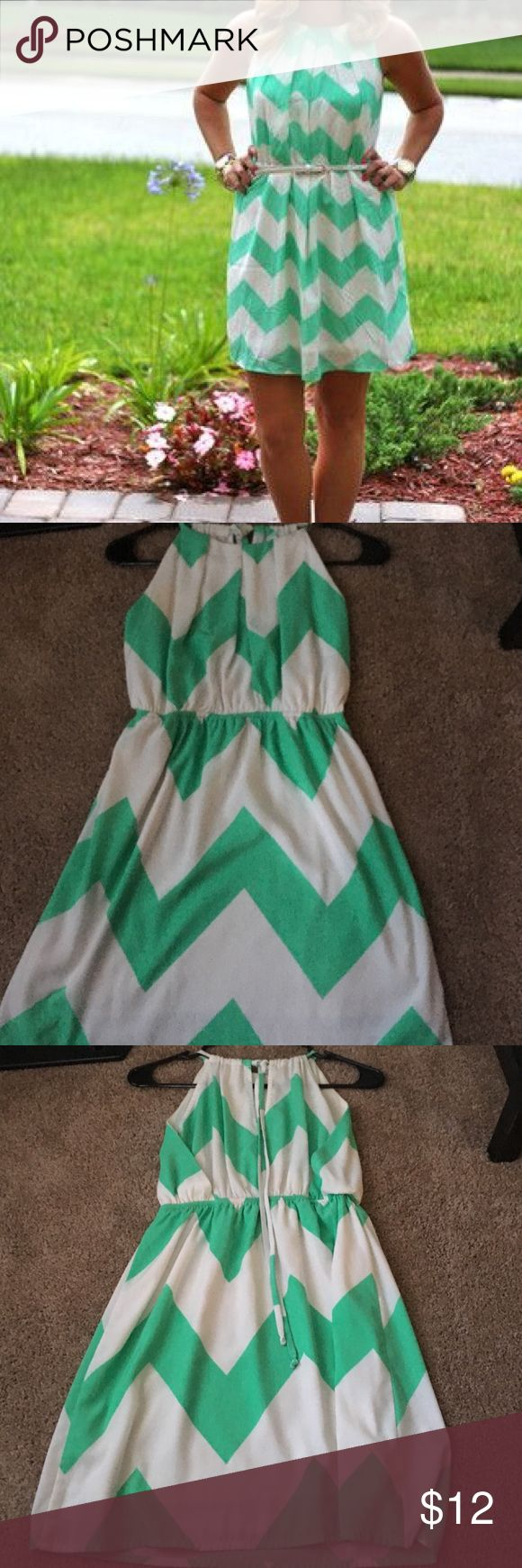 Mint Chevron Dress EUC mint chevron dress. Small flaw on right side, under arm area. Can easily be covered with sweater, and is not visible if arms are down. Pink Owl Dresses