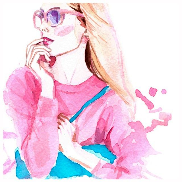 J.Crew illustration by Irina Sibileva #jcrew #spring #fashion #style #pink #thinkpink #watercolor #fashionillustration #illustration