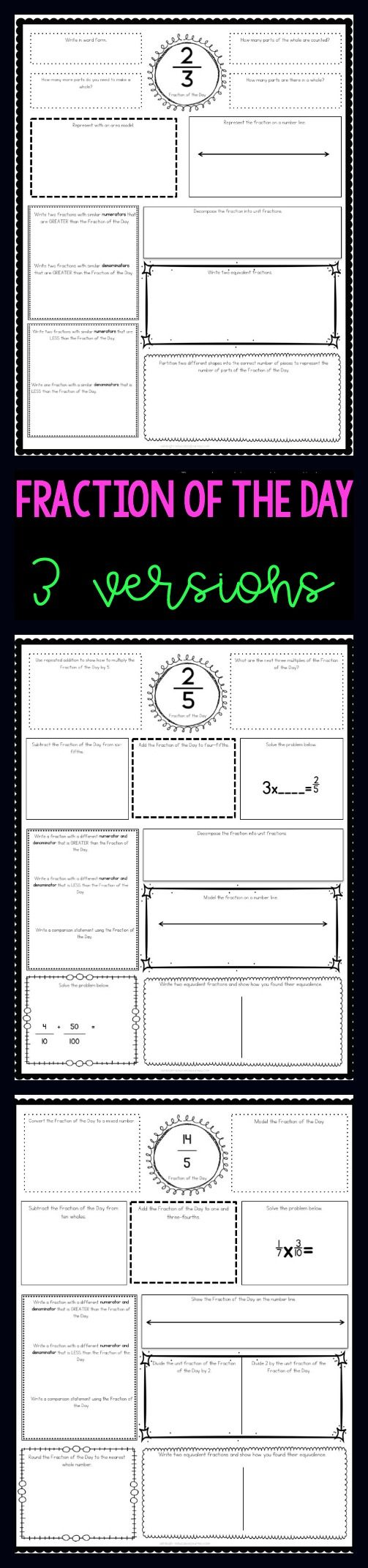 Give students practice working with fractions and developing a fraction number sense with a Fraction of the Day. Reviews equivalent fractions, comparing fractions, fractions on a number line, adding fractions, subtracting fractions, mixed numbers, improper fractions, multiplying fractions, and more!