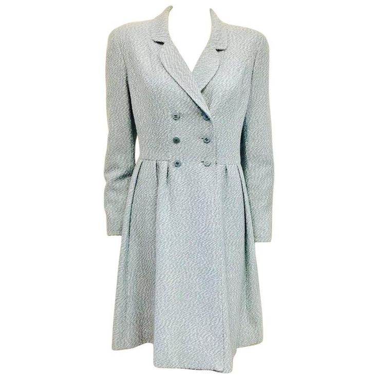 Chanel Boutique Spring Seafoam Blue/White Wool Double Breasted Coat Dress