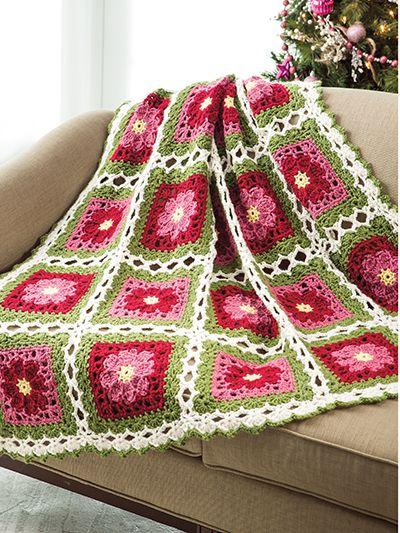 Crochet Christmas Rose Granny Square afghan pattern