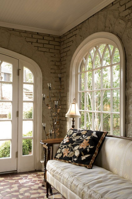 Beautiful with arched window.  Narrow French doors with screen would be lovely for breeze and paint smell/fumes.