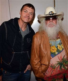 Brad Arnold of 3 Doors Down and Leon Russell pose backstage during the Agency Group Party at at IEBA Conference Day 3 at the War Memorial Auditorium on October 9, 2012 in Nashville, Tennessee.