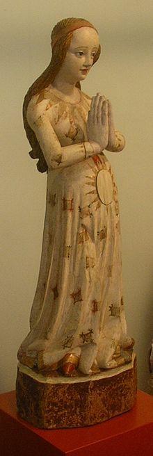 Maria in der Hoffnung, schlesische Holzskulptur um 1420, Frauenkloster Marienstern (Lausitz)