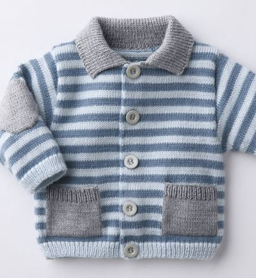 Blue striped grey pocket elbow pad knit cardigan