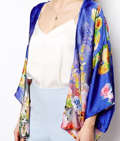 Satin Blue & Floral Cape – Bohemian Tapestry