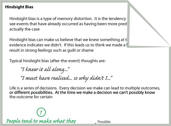 Hindsight Bias  -  various worksheets (not looked at yet, pinned for later)