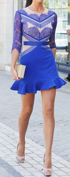 China blue eyelash lace dress