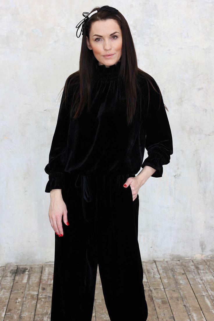 Black Jumpsuit/ Velvet Jumpsuit/Loose Jupmsuit/Women Jumpsuit/Women Romper/ Black Pants/Velvet Romper/Overalls/ROHAS/R00122 by Rohas on Etsy