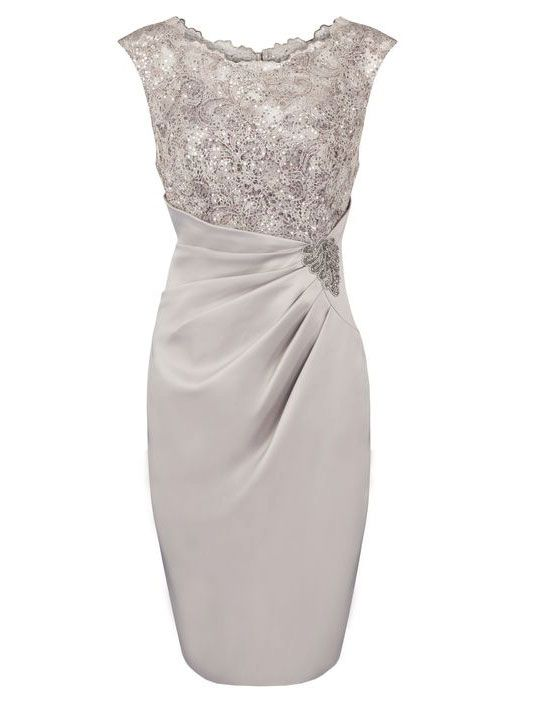 Fashion Scoop Appliques With Sequins Knee-length Grey Mother of The Bride Dress