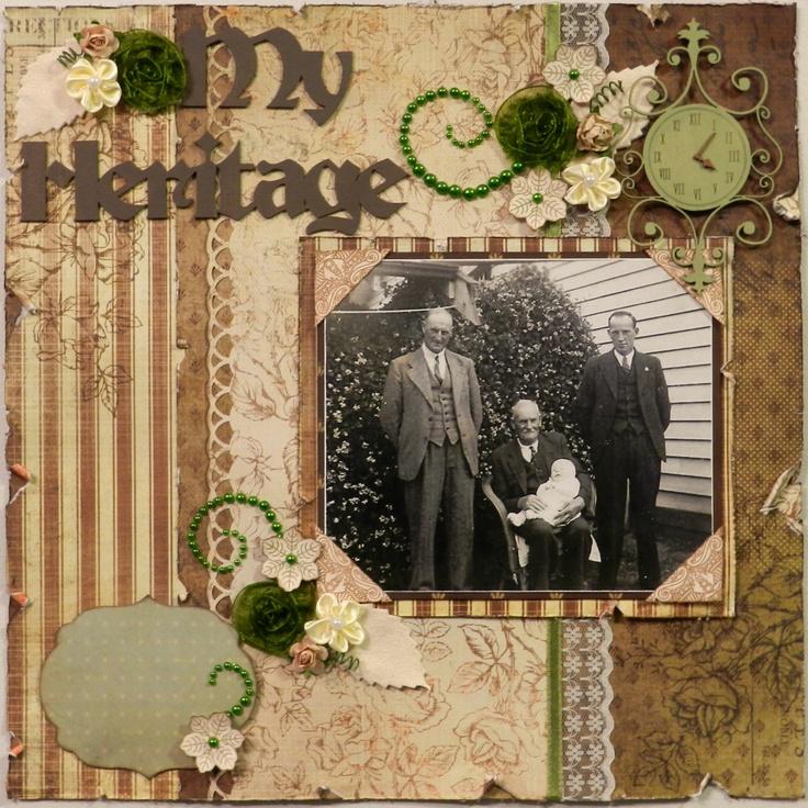 My Heritage. Classic, Vintage Page by Purple Hedgehog #scrapbooking #vintage #oldphotos