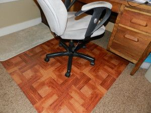 DIY Office Chair Mat   Cute Peel U0026 Stick Vinyl Tiles On A Plywood Sheet