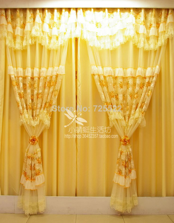 Promotion!New 2014 Quality princess child rustic for living room lace curtain and thick curtain backing free shipping $250.00